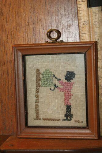 "Antique Black Americana Cross Stitch Framed Boy at Tree 3-1/2"" x 4"" Needle Work"