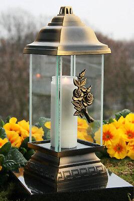 Grablaterne Grablampe Grableuchte Bronze Rose Grabschmuck inkl. Grablicht Kerze