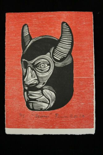 Lithograph Man w Mask/Horns Mexican Fine Art Signed Collectible Decor Bk/Rd