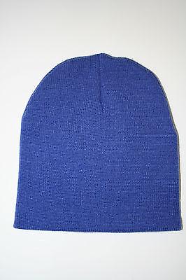 New Winter Beanies Ski Skull Cap Hat Head Wear Knit Royal Blue Head Cover -