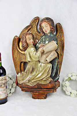 Antique French religious plaster Christmas Carol singing Rare wall panel plaque