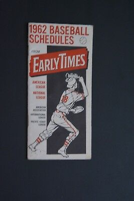 1962 Baseball Schedules: Early Times. Nice. Clean.