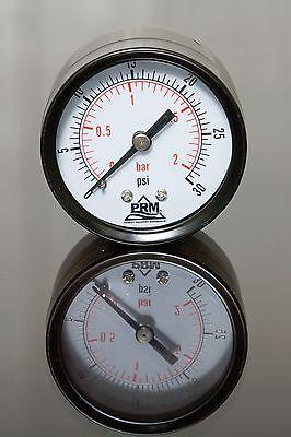 New Prm 0-30 Psi Pressure Gauge 2 Steel Case 14 Npt Brass Back