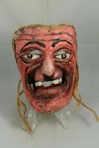 Wood Mask Hand Carved/Painted Mexico Folk Art Collectible Pina Rustic Decor Pink