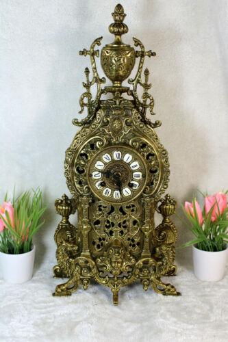 LArge French Bronze mantel clock lions caryatid heads