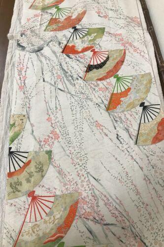 @@117 cm x 34 cm Japanese kimono silk fabric/ smooth weave/ white, sakura W50