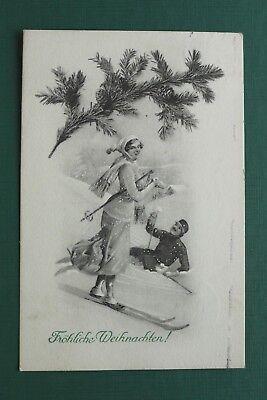 VIENNE 743 AK FR HLICHE WEIHNACHTEN 1912 FRAU SKI WINTER SPORT KLEID CHRISTMAS