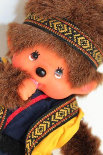 """Sekiguchi Monchichi Monkey Stuffed Plush 8"""" Doll 70s 80s Vtg Dressed Sucks Thumb"""