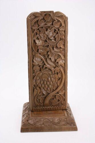"Hand Carved India Indonesia Art Ornate Floral Birds Vines Fruit 12.5""  Lamp Base"