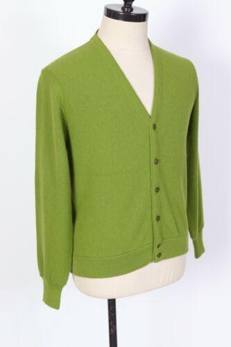 Vintage 60s EDWARDS 100% Acrylic Green Cardigan Sweater USA Mens Size Medium