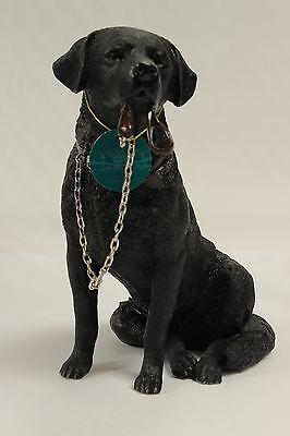 Black Labrador Dog Sitting 'Walkies' Ornament Gift Figure Figurine New & Boxed