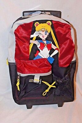 """NEW WITH TAGS  VINTAGE SAILOR MOON RED ROLLING BACKPACK 17"""" X 12"""""""