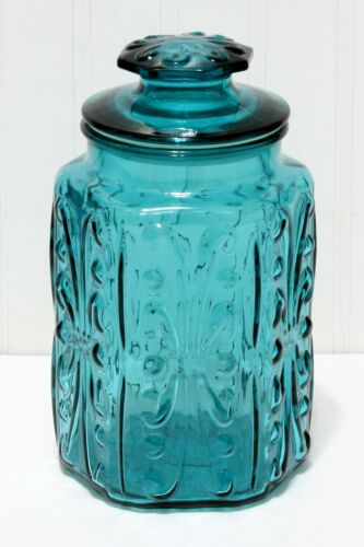 """Vintage L.E. Smith Imperial Atterbury Scroll Teal Blue Glass Canister Jar 9 1/4"""""""