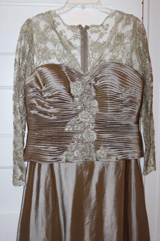 Patra formal beige tan lace satin mother bride dress wedding excellent size 10