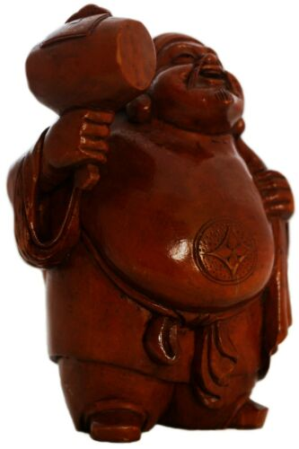ANTIQUE JAPANESE JAPAN HAND CARVED OKIMONO GOD OF WEALTH  FIGURINE STATUE