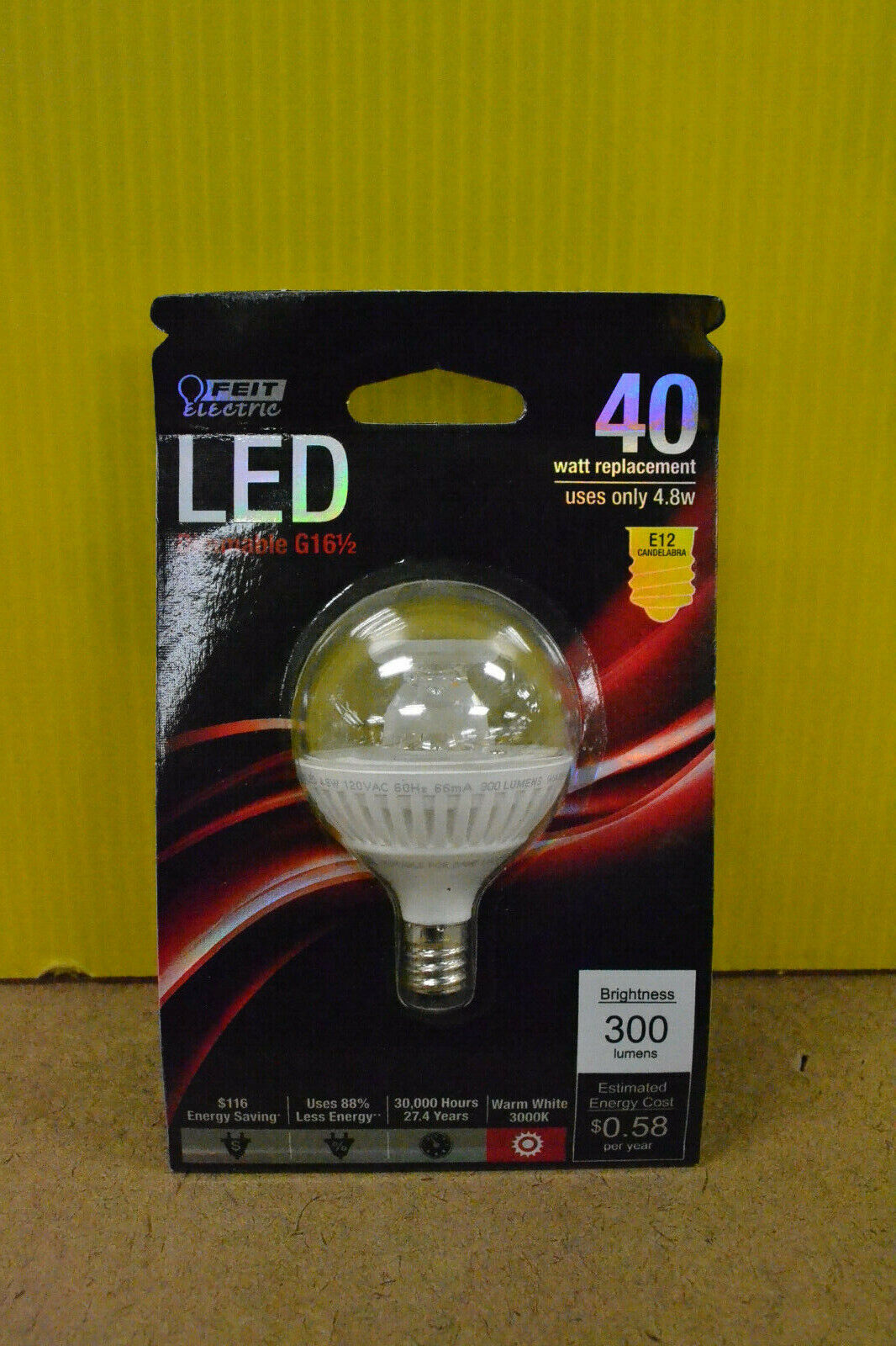 LED Feit Electric 40W Replacement Dimmable G16.5 Bulb E12 Ca