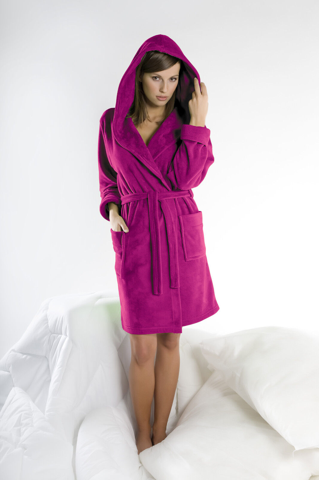 Womens Cotton Blend Hooded Bathrobe Dressing Gown Housecoat UK Robe Size 8  10 12 06fcae8d1