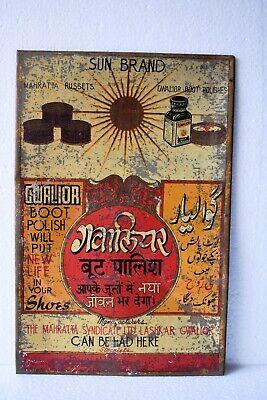 "Vintage Sun Brand Boot Polish Advertising Tin Sign Gwalior Rare Collectibles ""03"