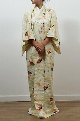 Authentic traditional vintage komon Japanese rinzu silk kimono