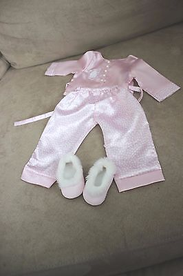 NWOB American Girl Doll Pajama And Slippers Outfit - SOFT PINK KIMONO Style