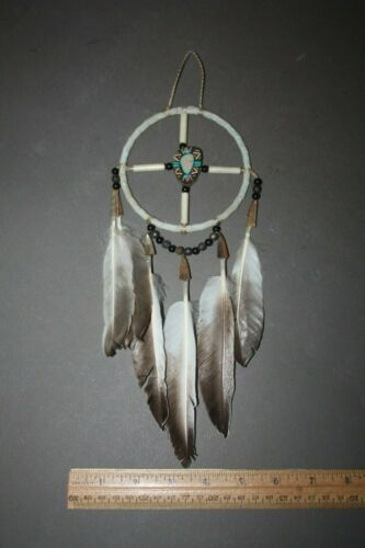 SMALL VINTAGE PAINTED WOOD BEAD & FEATHER NATIVE DREAM CATCHER WALL HANGING