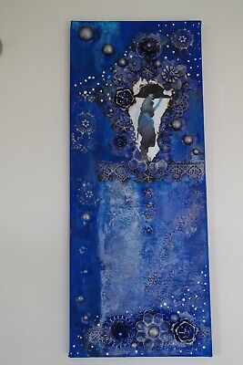 A Vision in Blue Mixed Media Canvas - unique piece of wall art
