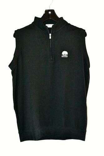 Peter Millar Crown Comfort Mens Belfair Black Quarter Zip Golf Vest sz M