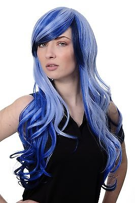 Perücke Cosplay Emo blau durchsträhnte lange Haarpracht gewellt Scheitel 2307