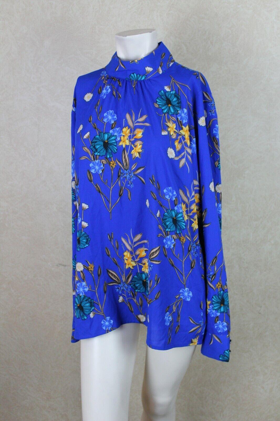Calvin Klein NEW Women's Blouse Top Blue Floral Jersey NWT ___ B6B3