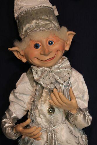 "Robert Stanley Christmas Winter Blush 36"" Wireframe Elf Silver & White Jester"