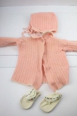 Vtg 50s 60s Crochet Pink Baby/ Doll Clothes Lot Cardigan Sweater Booties Girl ](50s Clothing Girls)