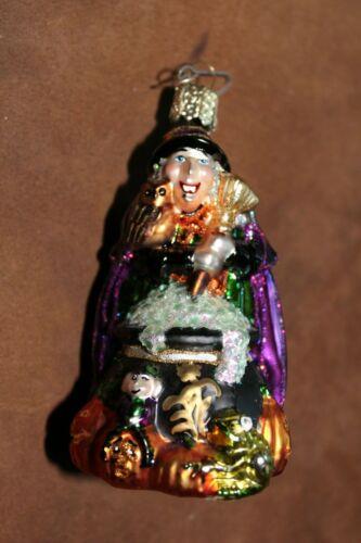 Vintage Old World Christmas OWC Halloween ornament Glass Witch w/ cauldron, frog