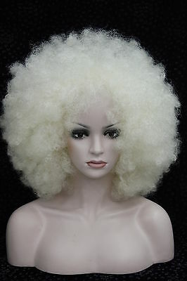 Milky white Afro fluffy Cosplay Anime wig Carnival party Hair Wigs FTLZ02