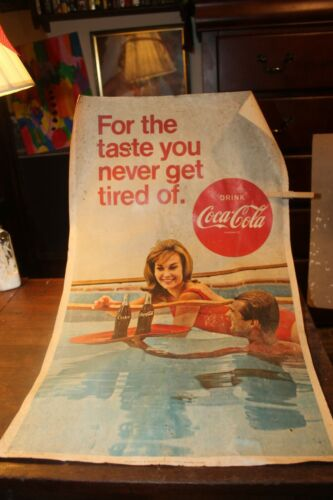 Vintage 1967 Poster Coca Cola For The Taste You Never Get Tired Of Swimsuit Girl