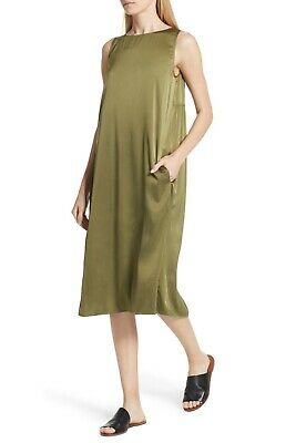 Eileen Fisher Olive Stretch Silk Charmeuse Tank Dress Size Small Orig $268  ()