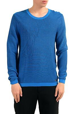 Versace Collection Men's Crewneck Blue Ribbed Sweater Size XS L 2XL 3XL
