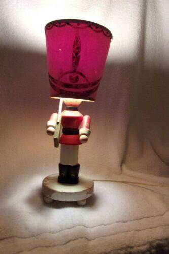 Nursery Plastics Vintage Lamp Wooden Toy Soldier w/Original Shade WORKS