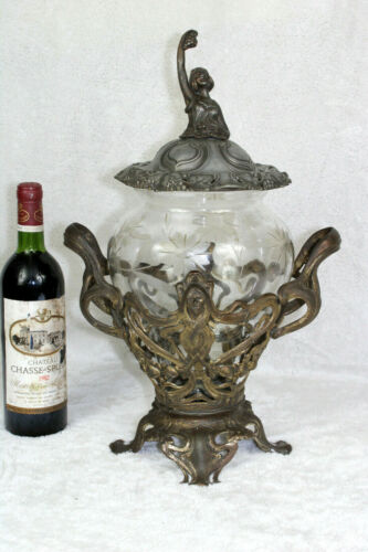 rare art nouveau Spelter Glass Lady punch bowl 1900s