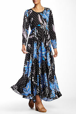 Nwt  148 Free People First Kiss Printed Maxi Dress Botanical Night Blue