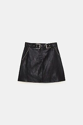 Zara XS black faux leather studded A- line mini skirt with matching belt