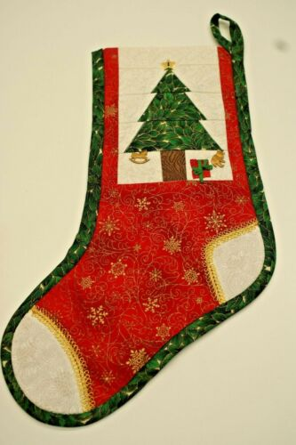 Handcrafted Christmas Stocking Quilted Tree with Charms,  16 inches