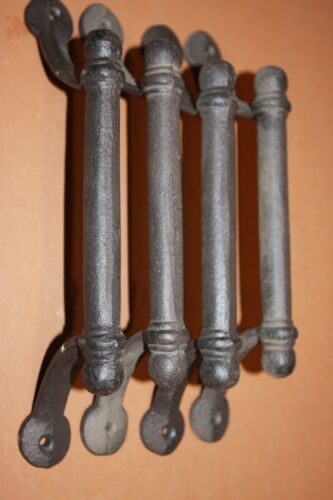 """(4) Rustic Industrial Barn Door Handles Pulls 10 1/2"""" Solid Cast Iron, HW-43"""