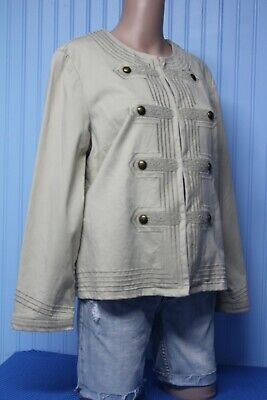 Chico's beige stretch no collar jacket with button & embroidery trim  size 1