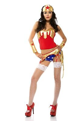 NEW! Super Hero Miss Captain Wonder Womens Cosplay Halloween Costume Size S/M