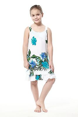 White Luau Dress (Aloha Summer Beach Hawaiian Cruise Luau Tank Ruffle Girl Dress White Blue)
