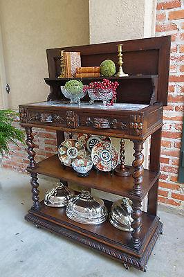 Antique French Carved Oak Barley Twist Sideboard Renaissance Server Marble SALE