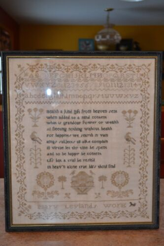 ANTIQUE AMERICAN SCHOOLGIRL SAMPLER RELIGIOUS ABOUT HEALTH MARY LEYLAND