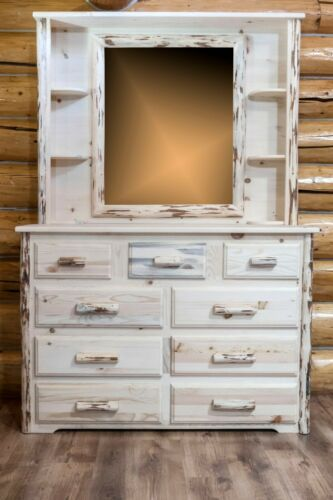 Rustic  9 Drawer Dresser With Hutch Mirror Amish Made Solid Wood Chest