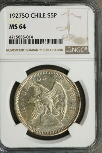 Chile 1927 So  5 Pesos NGC MS64