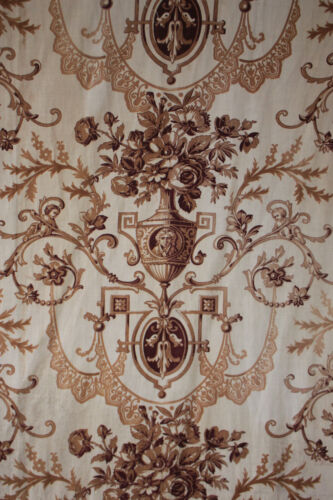 Toile Fabric Neoclassical printed Antique French brown curtain material c 1860